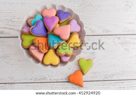 Colorful Valentine cookies.