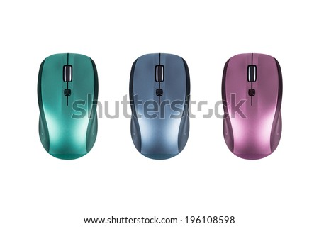 Colorful variations of wireless desktop computer mouses, isolated on white background. - stock photo