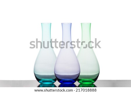 Colorful Vases Against a White Background  - stock photo