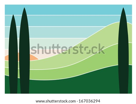 Colorful vector image of hill scenery with cypress trees in the foreground and sun in the background