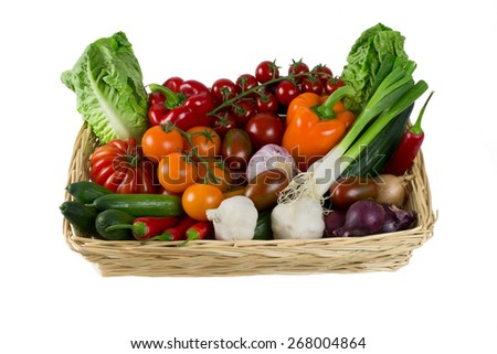 colorful vegetable basket - stock photo
