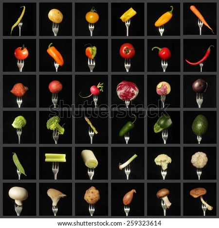 Colorful vegetables collage on black background - stock photo