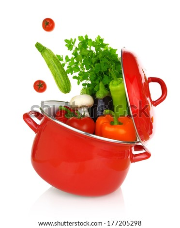 Colorful vegetables coming out of a red cooking pot  - stock photo