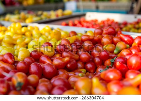 Colorful vegetables for sale in a street market - stock photo