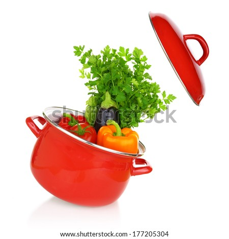 Colorful vegetables in a red cooking pot isolated on white background - stock photo