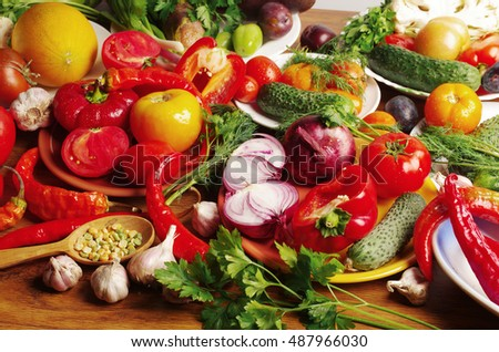 Colorful vegetables on the table