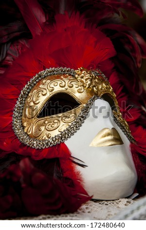 Colorful venetian mask with many details on it