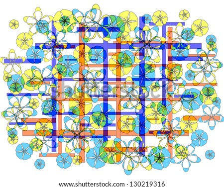 Colorful Vibrant Modern Abstract Design With Floral And Geometric Motifs  Superimposed On A Plain White Background