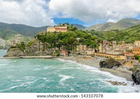 Colorful view at Monterosso Al Mare, Cinque Terre, Italy - stock photo