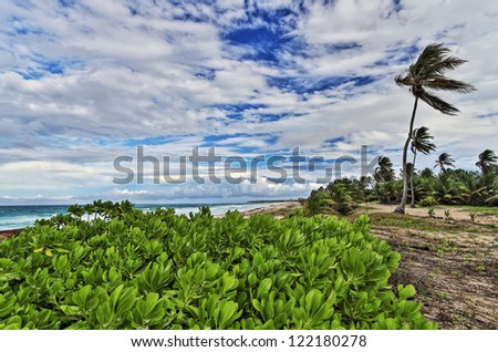 colorful view from the shore of the ocean - stock photo