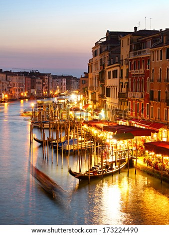 Colorful view Grand canale in Venice at twilight. - stock photo