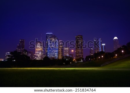 Colorful view of downtown Houston from Allan Parkwayt Park, - stock photo