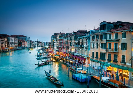 Colorful view of Grand canal in Venice at the twilight. - stock photo