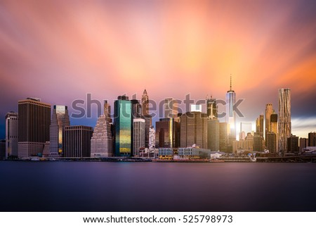 Colorful view of Lower Manhattan. New York skyline.