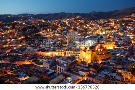 Colorful view of the city of Guanajuato at night, Mexico. - stock photo