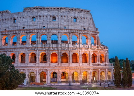Colorful view of the Colosseum in the blue hour, Rome  Italy.