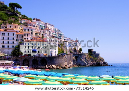 Colorful view over the beach at Amalfi, Italy - stock photo