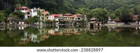 Colorful Village and Pagoda on Lake Near Hanoi Vietnam