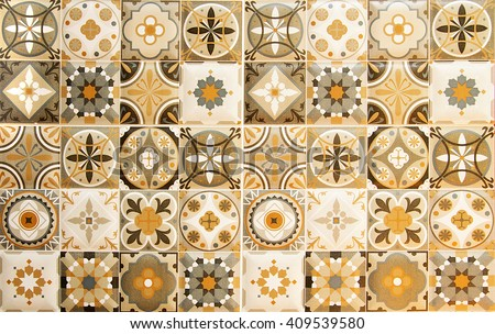 Colorful vintage ceramic tiles wall decoration.Turkish ceramic tiles wall background - stock photo
