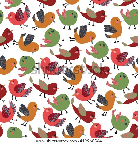 Colorful Vintage Cute Birds Raster Seamless Pattern with Colorful Raster Birds for T-Shirt Prints, Wallpaper, Wrapping Paper and Web Design, Seamless Vintage Wallpaper, Seamless Raster Pattern - stock photo