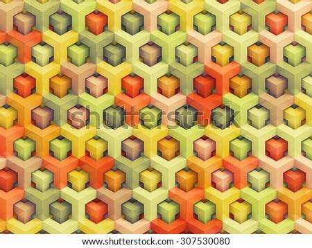 Colorful vintage 3D boxes background - vibrant cubes pattern - stock photo