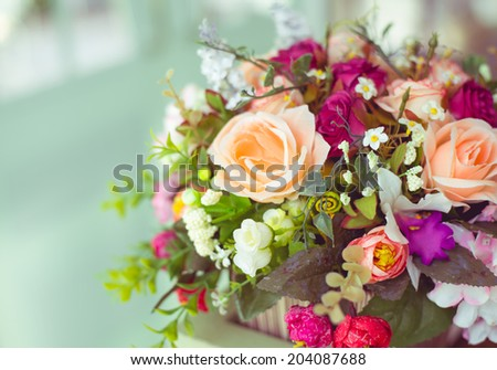 Colorful Vintage  decoration artificial flower - stock photo