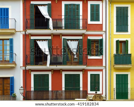 colorful vintage mediterranean urban house fronts in Palma, Majorca, Balearic Islands, Spain