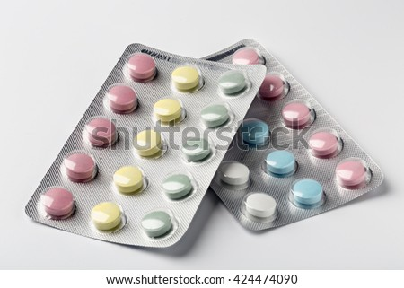 Colorful vitamins in a blister pack - stock photo