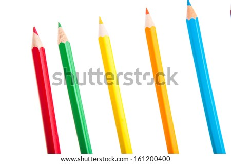 Colorful vivid pencils on white background