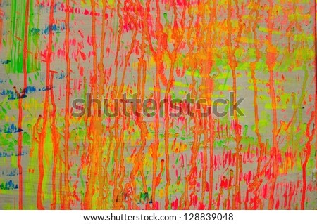 Colorful vivid water color splash background on wood board - stock photo