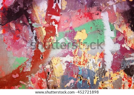 Colorful wall background - peeling paint urban texture. - stock photo