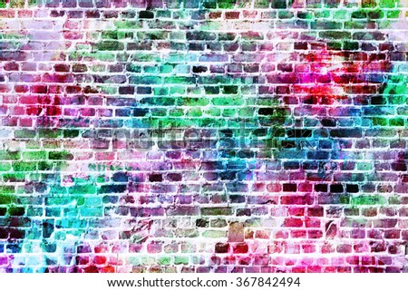 Colorful wall painting art, inspirational background image. - stock photo