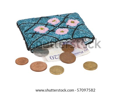Colorful wallet full of money - stock photo