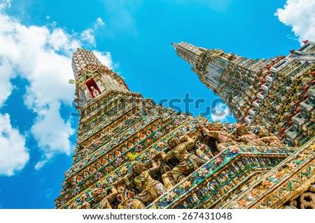 Colorful Wat Arun, Bangkok, Thailand - stock photo