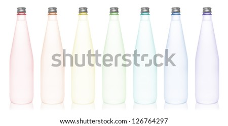 Colorful water bottle arrange in rainbow color, isolated on white