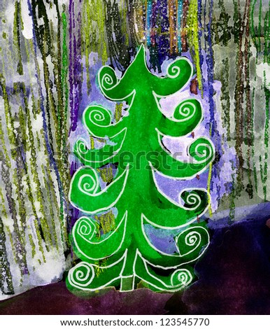 Colorful water color pouring on a paper with a Christmas tree - stock photo