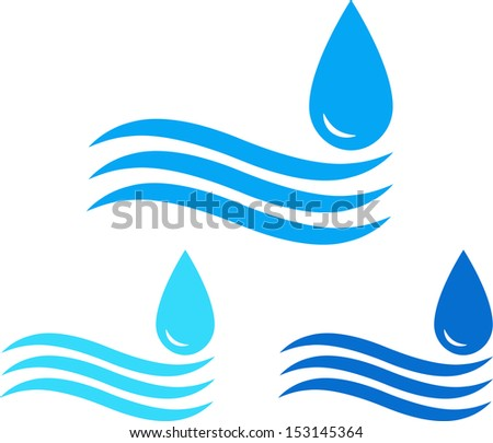 colorful water sign set with sea wave and drop
