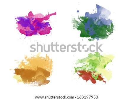 Colorful watercolor backgrounds - stock photo