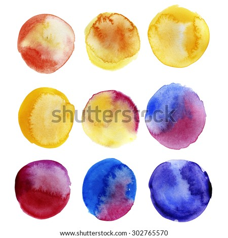 Colorful watercolor bubbles. Isolated shapes on white background. Aquarelle design elements. - stock photo
