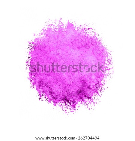 Colorful watercolor circle, pink drop on a white background. - stock photo