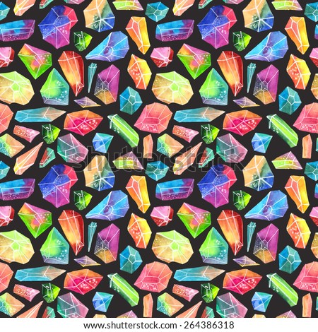 Colorful watercolor gem pattern, beautiful crystal Seamless pattern over black - stock photo