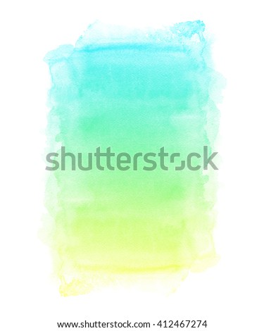 Colorful watercolor hand painted background with artistic rough edges. Abstract image of summer sky, beach and the sea. Fresh spring and summer colors. - stock photo