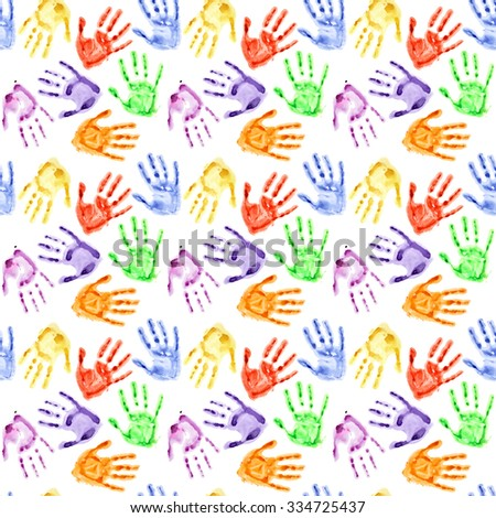 colorful watercolor hand prints seamless background - Prints For Kids