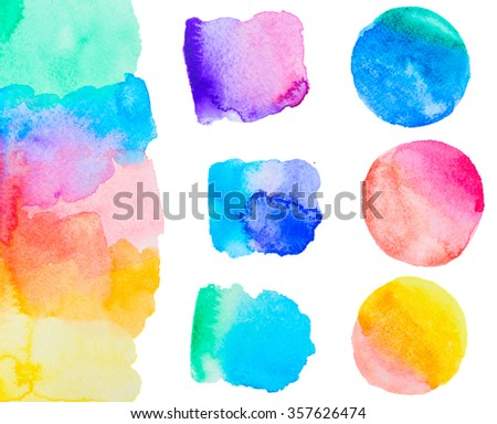 colorful watercolor handmade set isolated on white background - stock photo