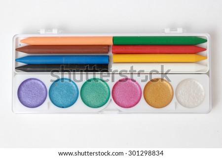Colorful watercolor paints - stock photo