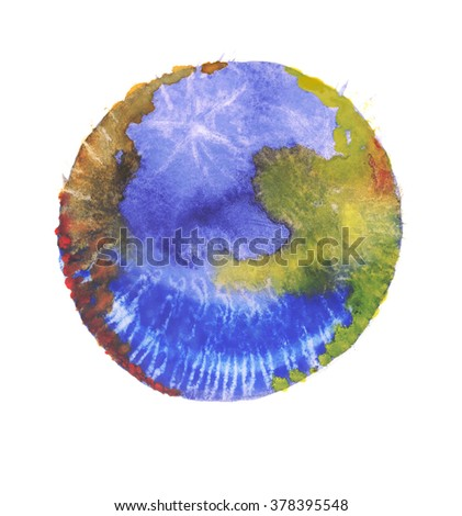 Colorful watercolor sphere. Abstract painting. Blue, yellow, brown and red paint. - stock photo