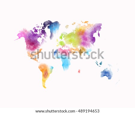 Colorful watercolor world map painting isolated stock illustration colorful watercolor world map painting isolated on white gumiabroncs Gallery