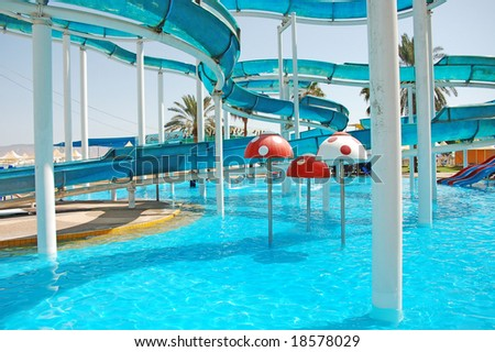 colorful waterpark - stock photo