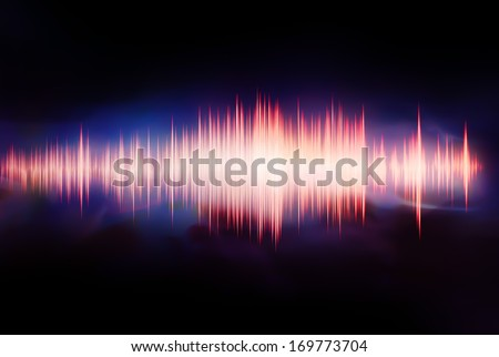 colorful waveform isolated on black - stock photo