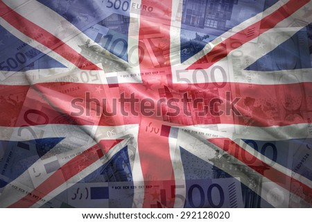 colorful waving british flag on a euro money background - stock photo